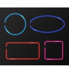 Neon frames set on black transparent vector