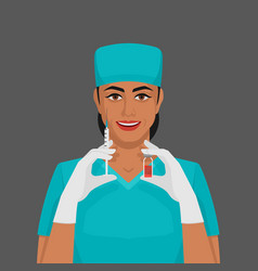 Nurse with syringe and vial vector