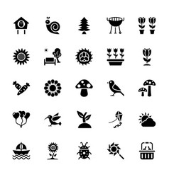 Picnic in park solid icons vector