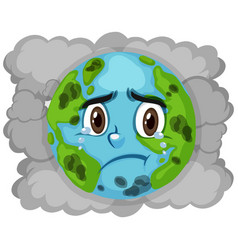 Pollution on earth with dirty smoke in background vector