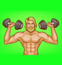 Pop art strong man with dumbbells vector