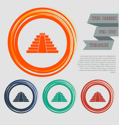 pyramid icon on red blue green orange buttons vector image