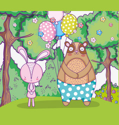 rabbit and bear happy birthday with balloons vector image