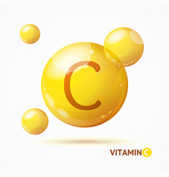 Realistic detailed 3d vitamin c background card vector