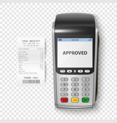 Realistic silver 3d payment machine pos vector