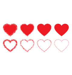red hand drawn grunge heart icons set heart frame vector image