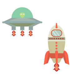 rocket and ufo cartoon or and ufo vector image