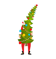 santa carry big christmas tree claus and huge vector image