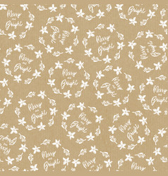 Seamless christmas pattern on craft paper vector