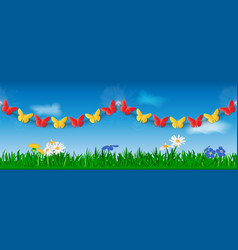 seamless garland of red and yellow paper vector image