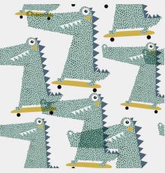 seamless pattern with crocodile creative bay vector image