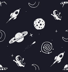 Seamless pattern with space objects vector
