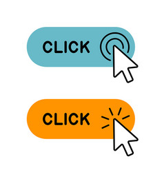Set of click here button with cursor icon vector
