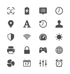 setting glyph icons vector image