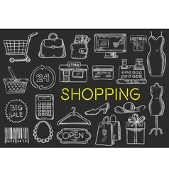 Shopping chalk sketch isolated icons vector image