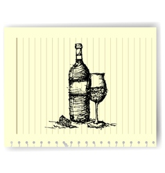 sketch drawing of wine bottle and glass on lined vector image