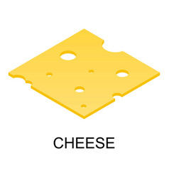 sliced cheese icon isometric style vector image