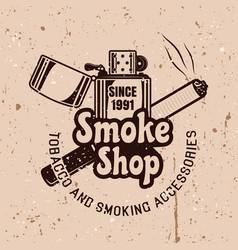 smoke shop emblem with lighter vector image