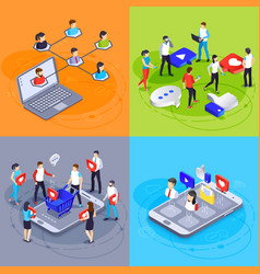 social media isometric concept digital marketing vector image