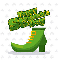 st patricks day green shoe and clover background vector image