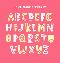 trendy kids alphabet abc hand lettering vector image