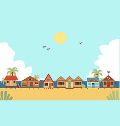 tropical beach with resort houses or bungalows vector image