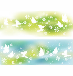 two seamless springtime background vector image