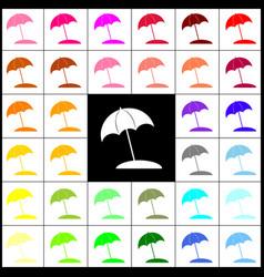 Umbrella and sun lounger sign felt-pen 33 vector