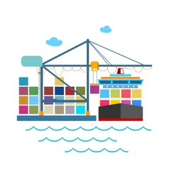 Unloading Containers from a Cargo Ship vector