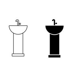 washbasin icon on white background vector image