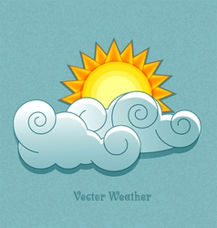 weather icons in retro style Sun behind the clouds vector image