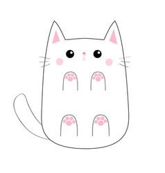 White cute sad cat baby kitten bottom below view vector