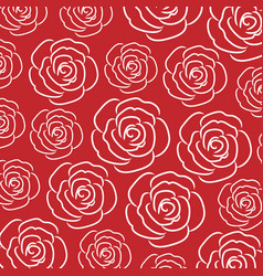 White rose line pattern on red background vector