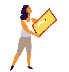 woman designer holding framed picture for home vector image