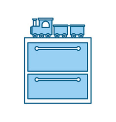 Wooden drawer with toys vector