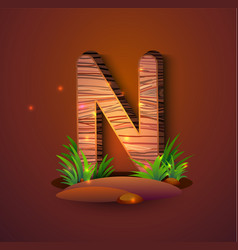 wooden letter n decorated with grass vector image
