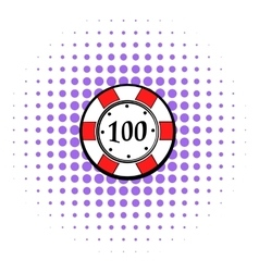 100 dollars casino chip icon comics style vector image vector image