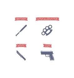 Ammunition icons with signs vector