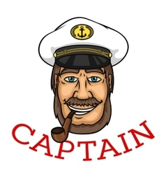 Bearded captain with pipe and white cap vector image vector image
