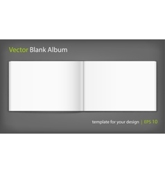 Blank of open album on grey background Template vector image