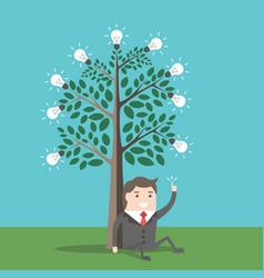 businessman under lightbulbs tree vector image vector image