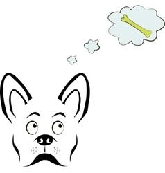 Dog thinking about bone vector image vector image