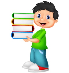 Little boy carrying a bunch of book vector image vector image