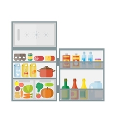 Refrigerator with food icons vector image