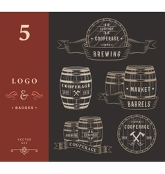 Set Wooden Casks Badges and Cooperage Logo vector image
