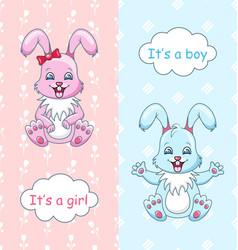 baby shower congratulation card with rabbits boy vector image