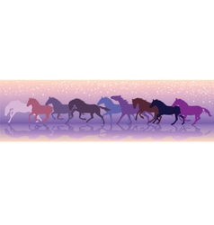 background with horses run at a gallop vector image vector image