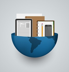 Business planet earth with office supplies vector image