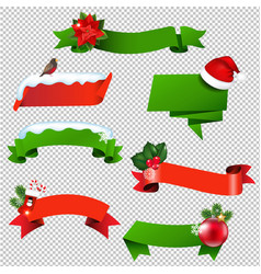 christmas ribbon set isolated vector image