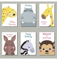 Cute birthday cards vector image